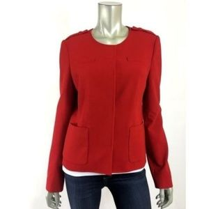 Ann Taylor 8 Red Jacket Blazer Lined Front Pockets